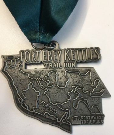 The Fort Ebey Kettles Trail Run finisher medal for 2020