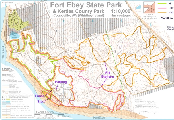 Fort Ebey Kettles Trail Run course map