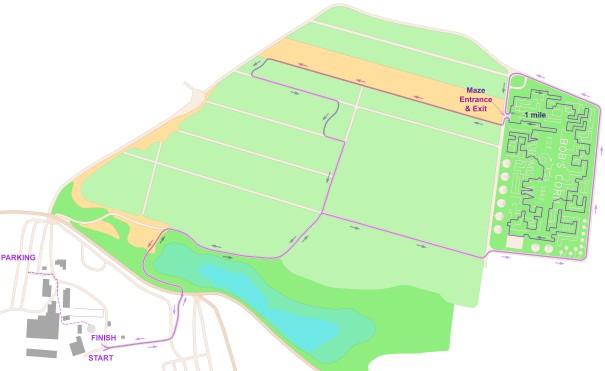 2021 Corn Maze Craze trail run route map at Bob's Corn and Pumpkin Farm